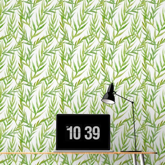 Watercolor Green Leaves Removable Wallpaper Tiles