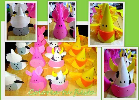 Gorritos para cumple de animales de la granja colorea tu fiesta pinterest animales - Cumpleanos infantiles comida ...