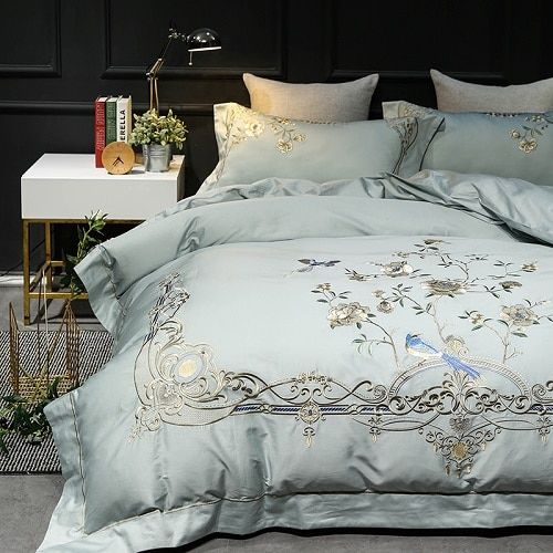 Luxury Exquisite Flower Embroidery 60s Egyptian Cotton Bedding Set Queen King Size Duvet Cover Bed Linen Bed Linens Luxury Queen Bedding Sets Bed Linen Design