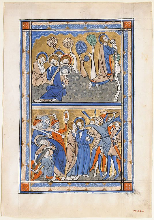 Manuscript Leaf from a Psalter: Agony in the Garden and Betrayal of Christ. ca. 1270 British.