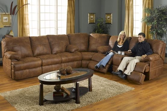 Weathered Leather Sectional Sofa With Recliners