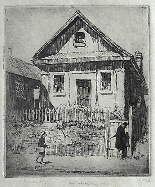 Lionel Lindsay (1874-1961) Little School House, Pitt Street, 1917. Etching, signed, titled and editioned 12/50 in pencil in lower margin