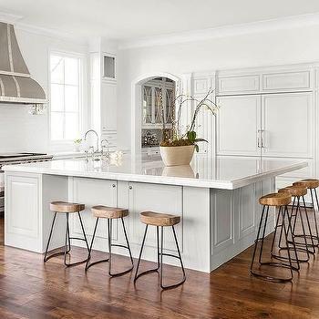 Oversized Kitchen Island with Smart and Sleek Stools, Transitional, Kitchen