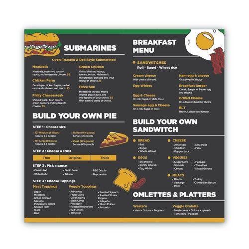 Menu For 5 Star Pizza N Burgers Sample Provided Menu Contest