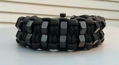 Custom Double Hex Nut Paracord Bracelet With Black Adjustable Shackle