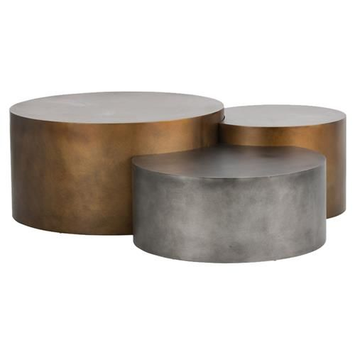 Aviance Loft Gold Silver Staggered Round Coffee