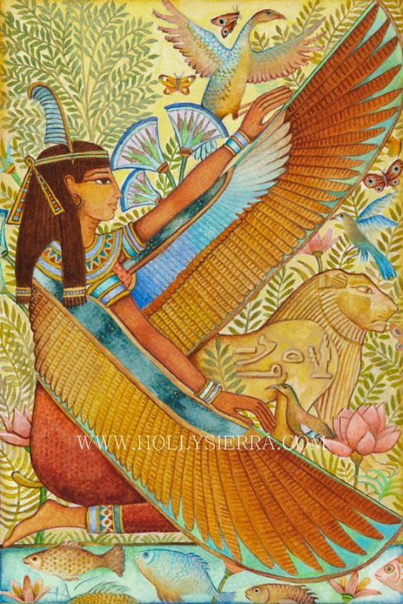 Maat is the Goddess of Truth and Justice who personifies cosmic order and harmony as established by the Creator God at the beginning of time. Her symbol is an ostrich feather. Judges were regarded as priests of Maat. In the hall of judgement at the weighing of the heart, the heart of the deceased was placed on the scales of justice, balanced against the feather of Maat, symbol of justice.