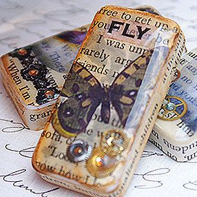 Awesome altered artist Denise Moore created these beautiful pieces by layering graphics, found accents (beads, watch parts, etc.), and Little Windows resin over