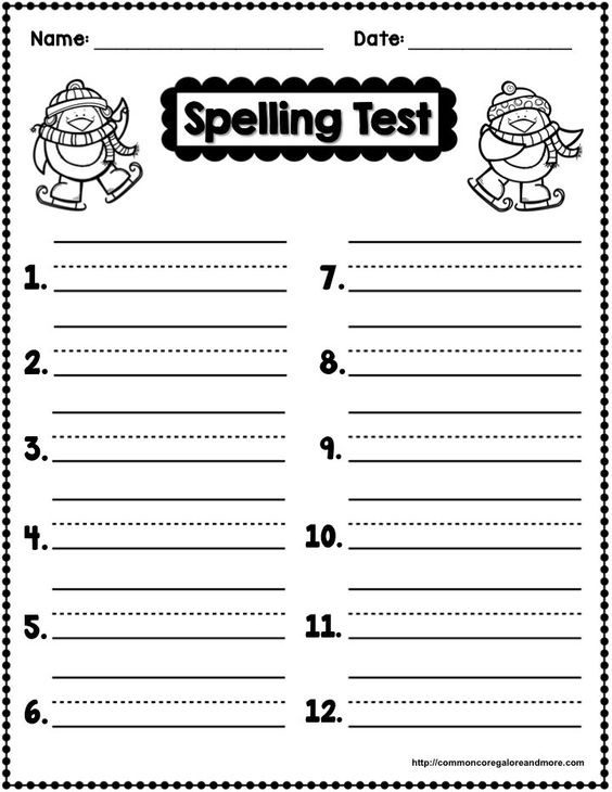 Spelling test spelling and templates on pinterest for Free printable spelling test template