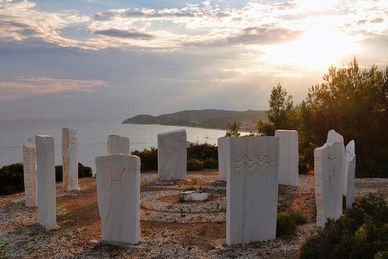 Zodiac signs on seacoast of Thassos island