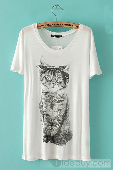 Graceful Round Neckline Short Sleeves Cotton Cat Print T-shirt : Tidebuy.com