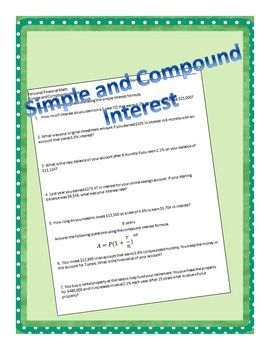 Simple and Compound Interest | Quizes, Worksheets and The Simple