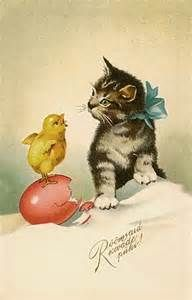 Vintage Easter Postcard Kitty Cat Kittens - Yahoo Image Search Results:
