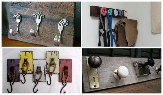 30 vintage diy coat hooks coats vintage and creative for Coat hanger art projects