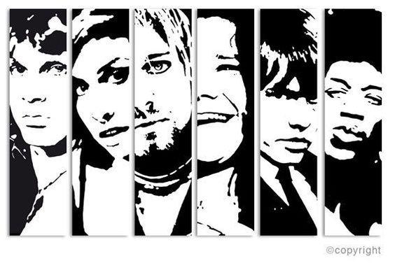 CLUB 27 KURT COBAIN HENDRIX AMY WINEHOUSE JOPLIN POP ART PAINTING acrylic people