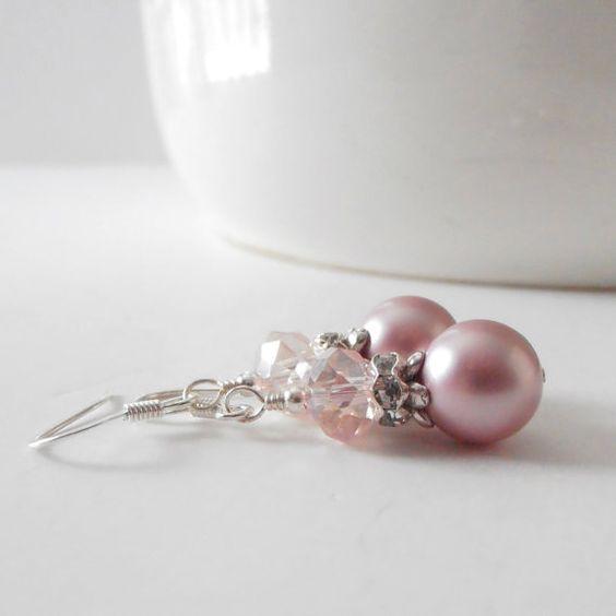 Pink Pearl Dangle Earrings Bridesmaid Earrings by FiveLittleGems
