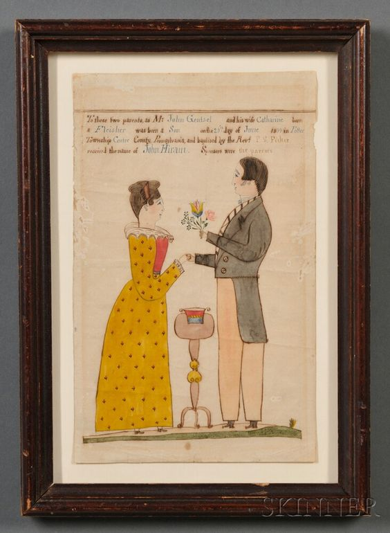 Framed Fraktur Birth Certificate, by Rev. Henry Young (American, 1792-1861), Centre County, Pennsylvania, 1844, Sold for $15,944. watercolor and ink on paper ...
