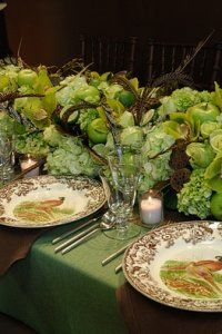 apple green and brown table setting for Thanksgiving