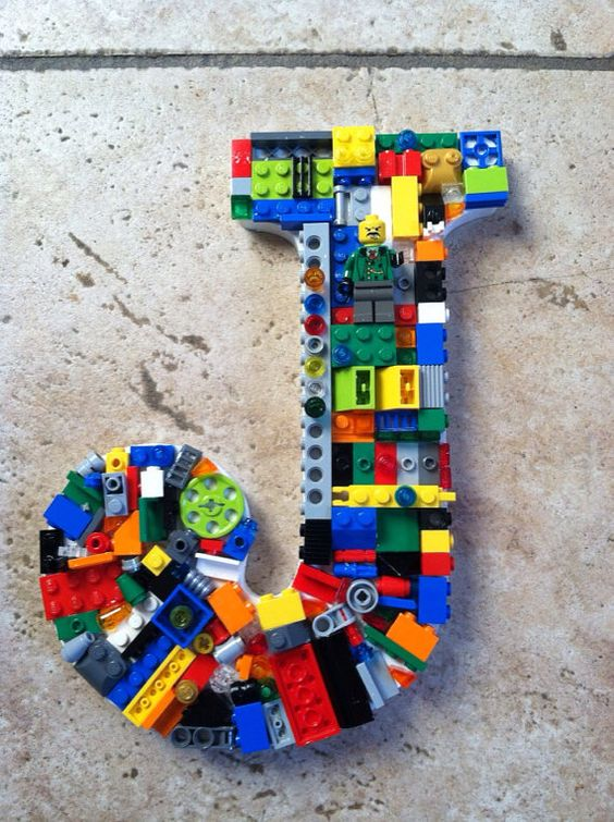 Custom wall letter, toy bricks, rainbow letter   One for Jack!