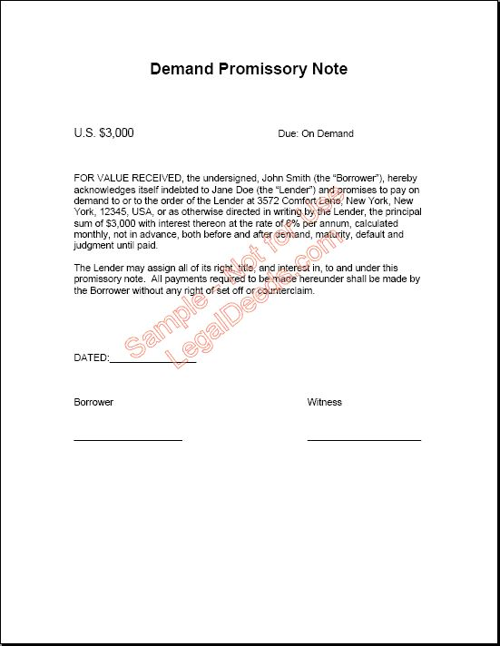 Simple Promissory Note No Interest Template Including Printable