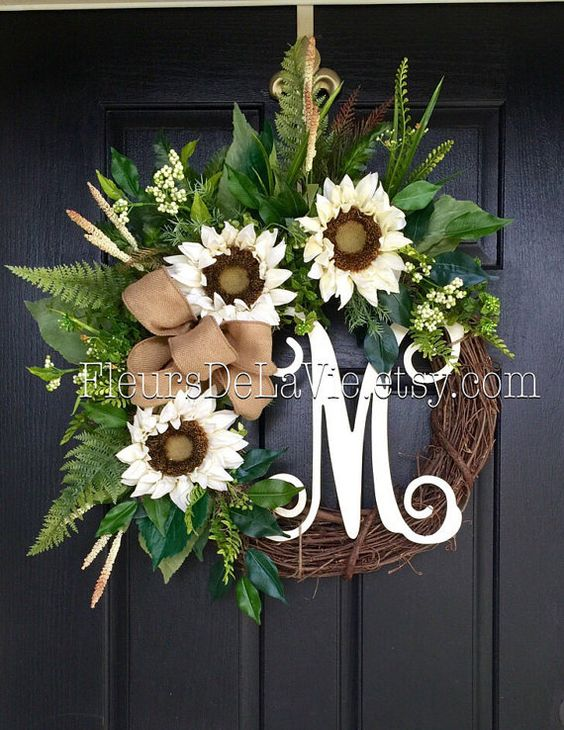 Front Door Wreaths Summer Door Wreaths Summer by FleursDeLaVie