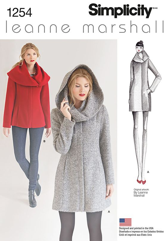 This Easy-to-Sew lined coat or jacket from Leanne Marshall is sure to be a hit. Oversized collar can be worn like a shawl or a hood for extra warmth and great winter style.