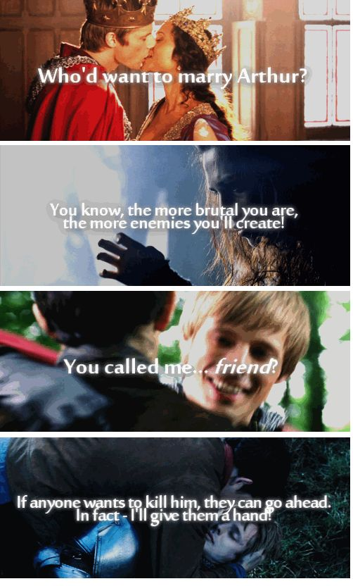 (gif set) Merlin + Irony. Characters and things they said in the first episode.