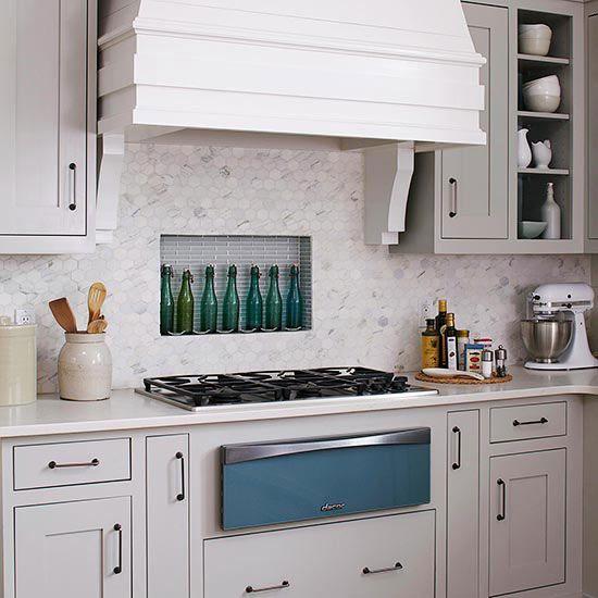 kitchen backsplash ideas stove hexagons and glasses