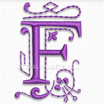 """This free embroidery design is from Cute Embroidery's """"Purple Heart Font"""".  It's the letter F."""