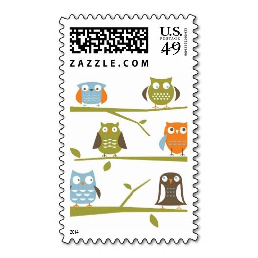 Owls on a branch postage stamp. I love this design! It is available for customization or ready to buy as is. All you need is to add your business info to this template then place the order. It will ship within 24 hours. Just click the image to make your own!