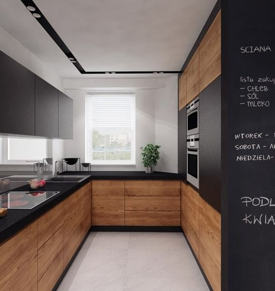 plan de travail cuisine et armoires hautes en noir mat, placage simili noyer: