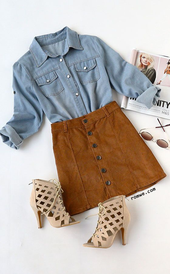 Big Sale - Blue Long Sleeve Pockets Denim Shirt with khaki skirt and lace up heels from romwe.com: