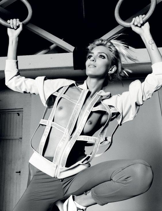 Anja Rubik wears Jacket Jeremy Scott for Adidas. Leggings Stella McCartney for Adidas. Shoes Onitsuka Tiger.