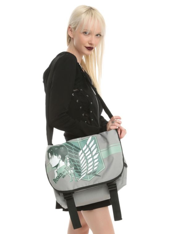 Attack On Titan grey messenger bag with a Scout Regiment logo design. Multiple pockets and adjustable straps.