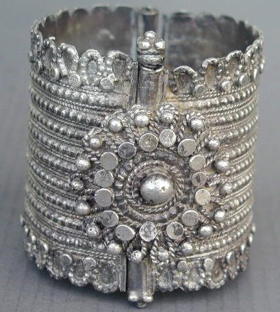 Old silver Bedouin hinjed bracelet from Northern Yemen.
