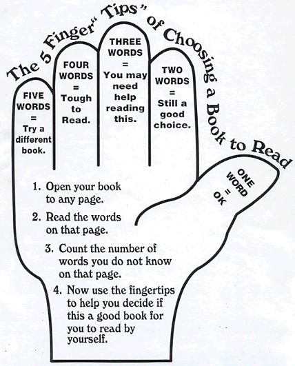 "5 Finger ""Test"" to Check Reading Level of Any Book~  Students can easily find out if any book is on THEIR reading level, whatever that is at that particular moment in time.  Help make reading fun!  Picking the right book saves lots of time and frustration!"