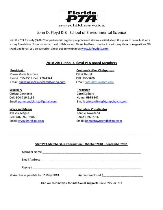 Sample Pta Membership Forms Photos Pta Membership Pta Pta School
