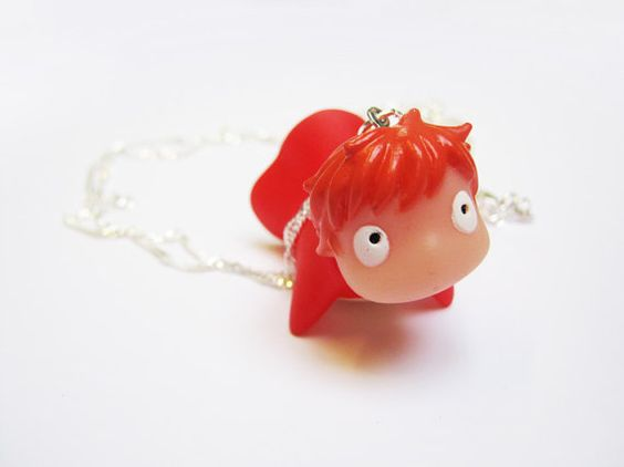 Kawaii Studio Ghibli Ponyo Sterling Silver Necklace by Kawaiistarz