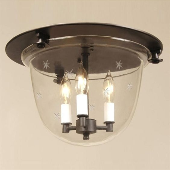 Flush Ceiling Bell Lantern Star Glass - 3 finishes