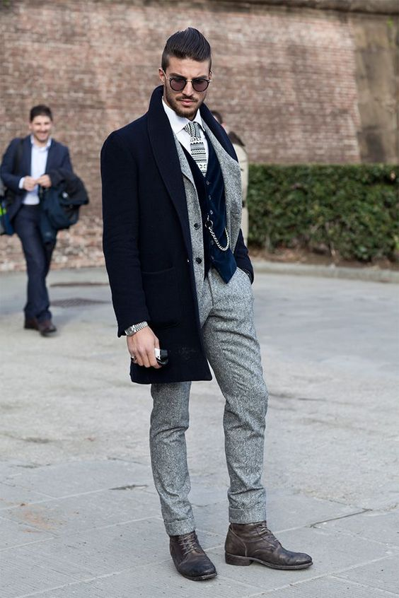 Combination: Overcoat and Suit Pants