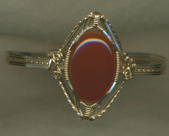 Carnelian Gold Wire Wrap Bracelet