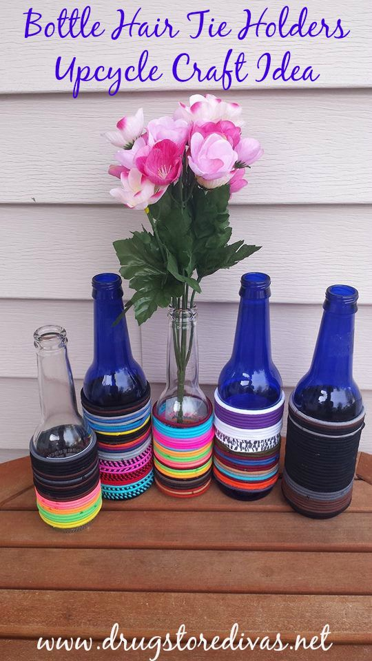 Want a way to avoid losing your hair ties? Check out this bottle hair tie holders upcycle craft idea from www.drugstoredivas.net.