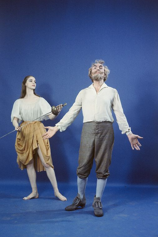 "New York City Ballet - studio portrait of George Balanchine and Suzanne Farrell in ""Don Quixote"", choreography by George Balanchine (New York)"