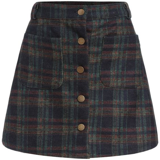 Checkered Pockets Buttons A-Line Skirt (£8.77) ❤ liked on ...