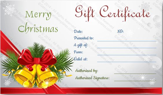 download options for christmas bells gift certificate template - christmas gift certificates templates