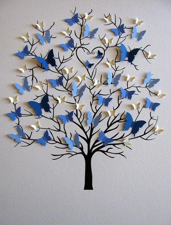 Sin mate / sin mate y sin marco, este árbol de las mariposas 3D sería un regalo muy especial para los padres o abuelos que están celebrando un aniversario u otra ocasión especial. Las mariposas son creadas especialmente para su familia en tamaños + colores para representar cada