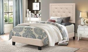 Groupon - Paris Fabric Upholstered Platform Twin Bed. Groupon deal price: $179.99