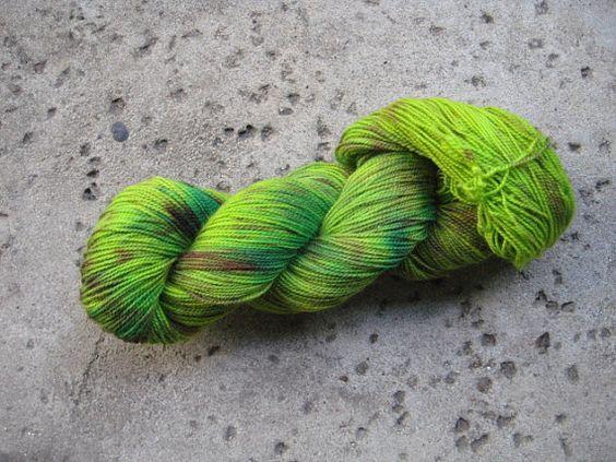 Sock Yarn  Superwash BFL and Nylon  Froggy by GraceandFiber, $19.75