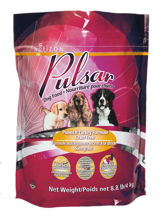 Moulée sans grain pour chiens Pulsar : formule légumineuses et dinde. La moulée sans grain pour chiens Pulsar est élaborée avec des légumineuses comme des lentilles rouges et des pois secs, plutôt qu'avec des glucides de moindre qualité comme les pommes de terre et le tapioca. http://www.artdesanimaux.com/fr/products/Moulee-sans-grain-pour-chiens-Pulsar-formule-legumineuses-et-dinde