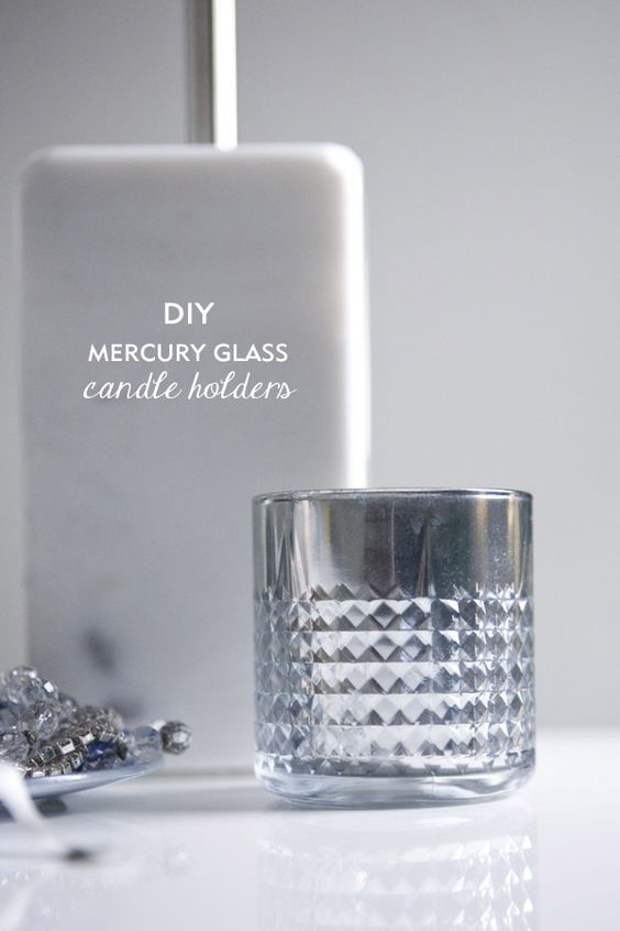 diy mercury glass candle holders mercury glass paint and wedding. Black Bedroom Furniture Sets. Home Design Ideas